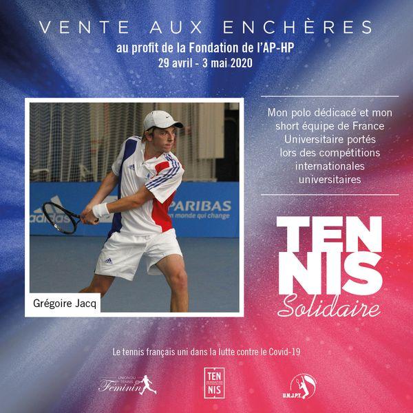 Tennis Solidaires vente aux enchères Jacq