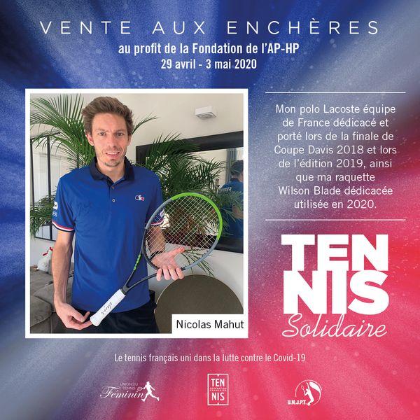 Tennis Solidaires vente aux enchères Mahut